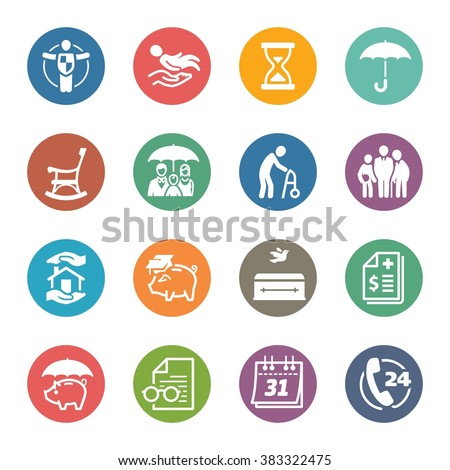 Life Protection Icons - Dot Series - stock vector