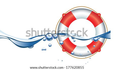 Life Ring in water - stock vector