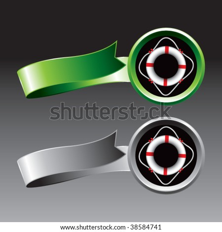 life ring on green and silver ribbons - stock vector