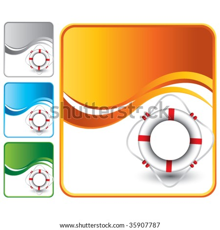 life ring on multicolored wave backgrounds - stock vector