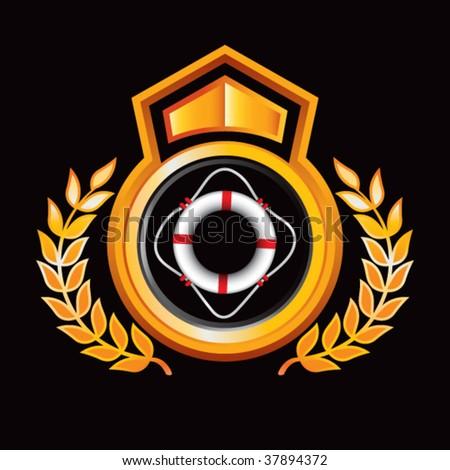 life ring on orange royal crest - stock vector