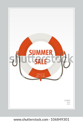 life ring, summer sale 2012 - stock vector