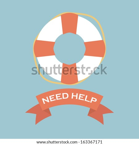 Life Saver with need help banner sign - stock vector