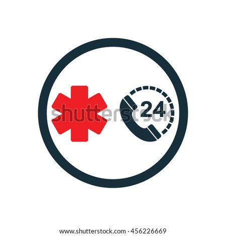 life star medical emergency phone all day nonstop icon  on white background - stock vector