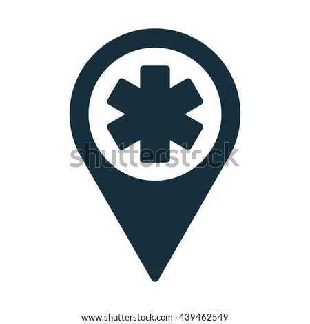 life star medical pin location icon - stock vector