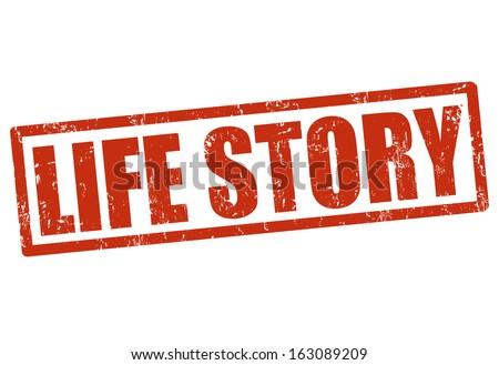 Life story grunge rubber stamp on white, vector illustration - stock vector