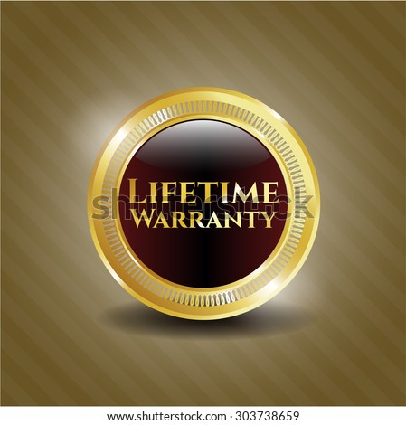 Life Time Warranty gold shiny emblem - stock vector