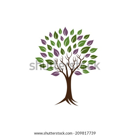 Life tree image. Concept of happiness, young and healthy.Vector icon  - stock vector