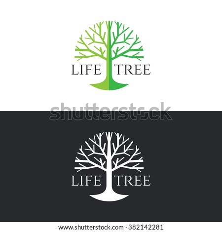 Life tree logo circle vector design - green tree tone on white background and white tree on dark grey background - stock vector