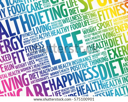 LIFE word cloud collage, fitness, health concept