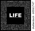LIFE. Word collage on black background. Illustration with different association terms. - stock photo