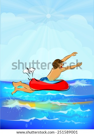 lifebelt drowning man. rules of behavior on the water. Vector