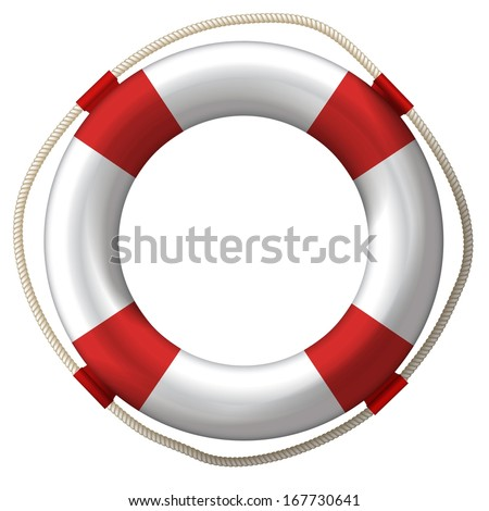 lifebelt, lifebuoy isolated on white high detailed - stock vector