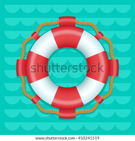 Lifebuoy cartoon style color vector icon, Marine safe theme, blue or turquoise sea waves flat style background,  life preserver sign, red and white color ring buoy illustration, summer color template - stock vector