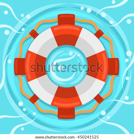 Lifebuoy flat color vector icon, Marine safe theme, blue sea waves and rings flat style teaser banner,  life preserver sign, red and white color ring buoy illustration on blue water background - stock vector