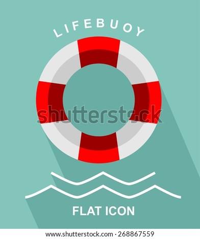 lifebuoy flat icon - stock vector