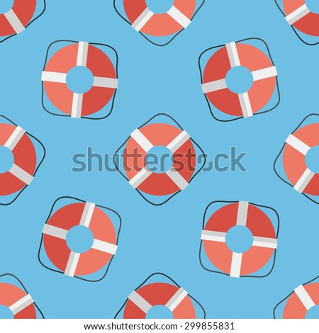 Lifebuoy flat icon,eps10 seamless pattern background - stock vector