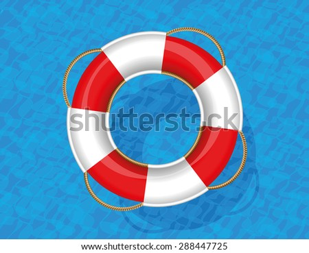 Lifebuoy floating on blue water. Vector illustration.  - stock vector