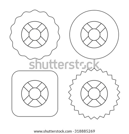 Lifebuoy icon. Lifebelt sos sign. Lifesaver help equipment symbol. Flat circle, star and emblem buttons. Labels design. Vector - stock vector