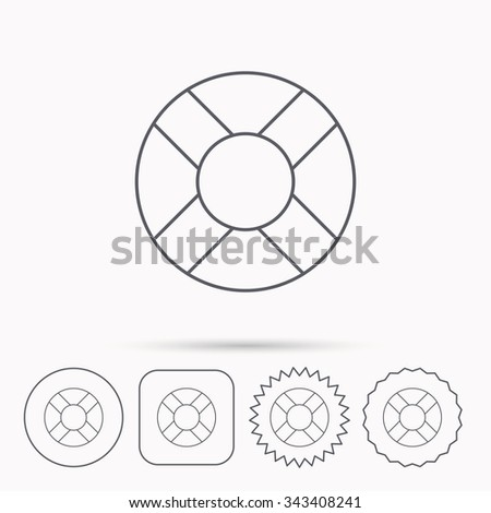 Lifebuoy icon. Lifebelt sos sign. Lifesaver help equipment symbol. Linear circle, square and star buttons with icons. - stock vector