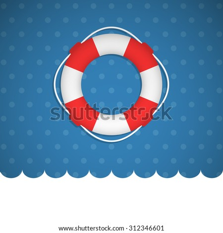 Lifebuoy icon no a blue basckround. Vector illustration. - stock vector