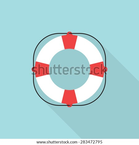 Lifebuoy icon with long shadow, flat style - Vector - stock vector