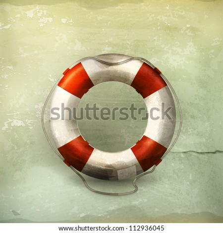 Lifebuoy, old-style vector - stock vector