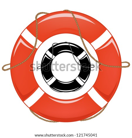 lifebuoy vector illustration - in color and monochrome - stock vector