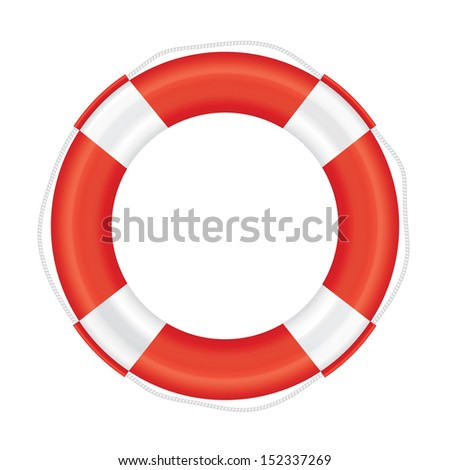 Lifebuoy with red stripes and rope (life salvation). Isolated on white background. Vector illustration. - stock vector