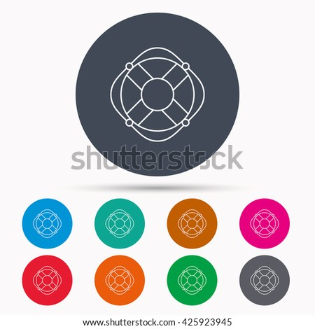 Lifebuoy with rope icon. Lifebelt sos sign. Lifesaver help equipment symbol. Icons in colour circle buttons. Vector - stock vector