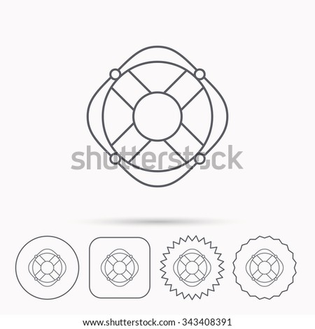 Lifebuoy with rope icon. Lifebelt sos sign. Lifesaver help equipment symbol. Linear circle, square and star buttons with icons. - stock vector