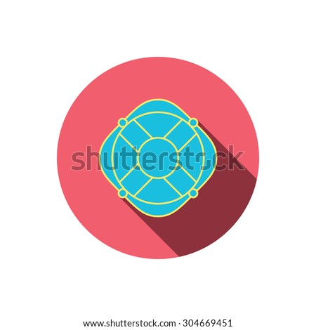 Lifebuoy with rope icon. Lifebelt sos sign. Lifesaver help equipment symbol. Red flat circle button. Linear icon with shadow. Vector - stock vector