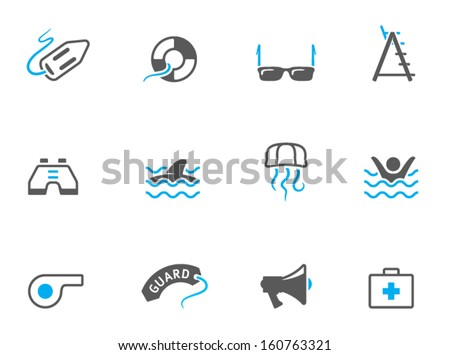 Lifeguard icons in duo tone colors - stock vector
