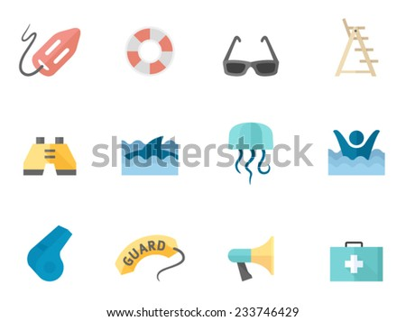 Lifeguards related icons in flat colors style. - stock vector