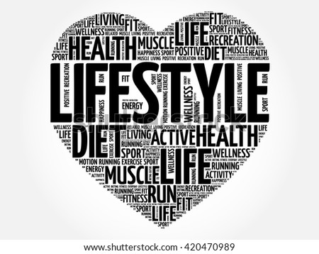 LIFESTYLE heart word cloud, fitness, sport, health concept