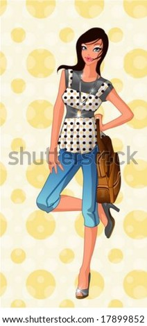 Lifestyle of Joyful People - relaxed standing pose for the camera with a cute & happy smiling young girl isolated on a background of bright yellow wallpaper with circle patterns : vector illustration - stock vector