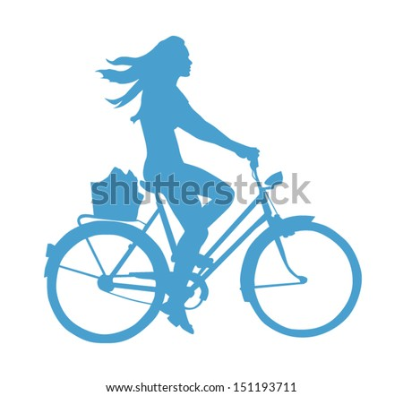 Lifestyle Silhouette Of A Girl On A Bike - stock vector