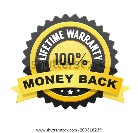 Lifetime warranty and 100% Money back label, badge, seal - stock vector