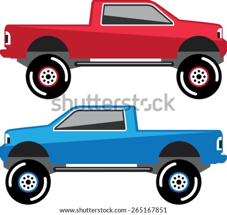 Lifted Pickup Truck vector - stock vector