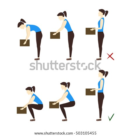 Lifting Box Correct and Incorrect Position, health care concept. Vector Illustration of Safely Correcting posture lift the heavy object. Woman lift boxes at work. Medical illustration of Lifting Box