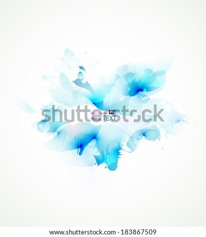 Light abstract blue single flower - stock vector