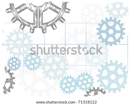 Light abstract sketch gears fading grid - stock vector