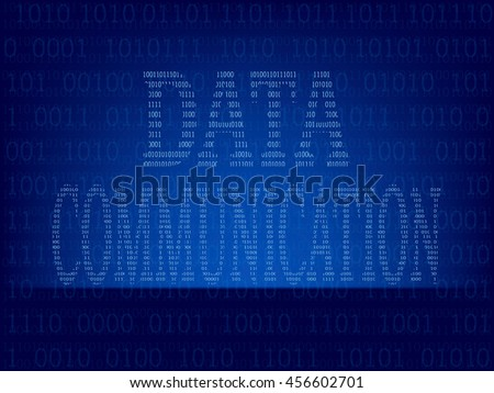Light abstract technology binary code on dark blue color background,Vector illustration - stock vector