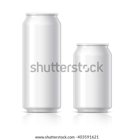 light and shiny aluminum cans for beer and soft drinks or energy. Packaging 500 and 330 ml. Object, shadow, and reflection on separate layers. Vector illustration - stock vector