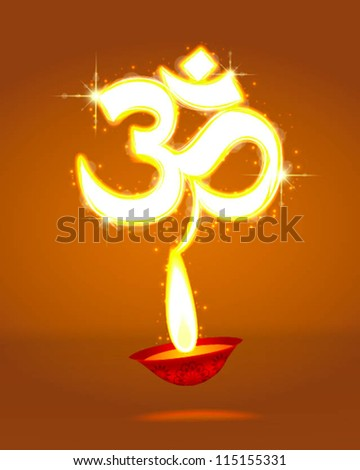 light art of diwali Om symbol with glow - stock vector