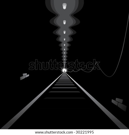 Light at the end of tunnel - stock vector