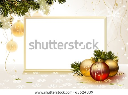 light backdrop with evening balls and card - stock vector