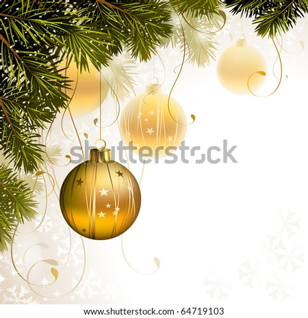 light backdrop with gold evening balls - stock vector