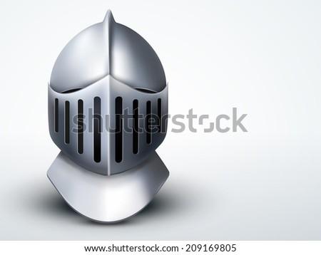 Light Background Crusader Metallic Knight's Helmet. Retro style. Editable Vector illustration. - stock vector