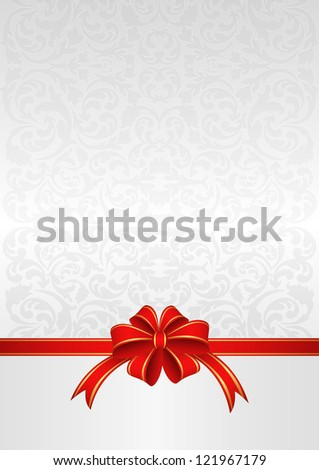 light background with a red ribbon for gifts - stock vector